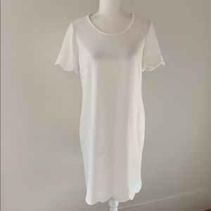 NWT NY Collection Scalloped White Dress